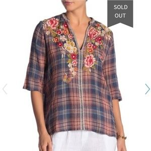 Johnny Was Lucy Plaid Embroidered Floral Top